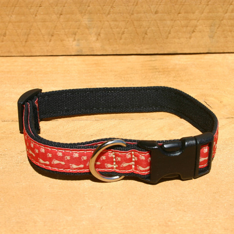 "Hemp/organic cotton collar & lead set ""BFF"" Red Medium"
