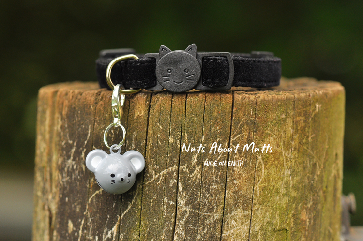 Plush Black Velvet catface buckle 3 sizes