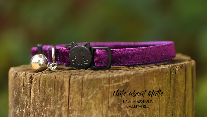 Velvet cat collar Plush Plum with cat face FREE SHIPPING!