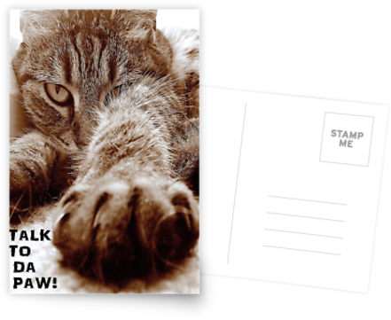 """Talk to da paw"" postcard"