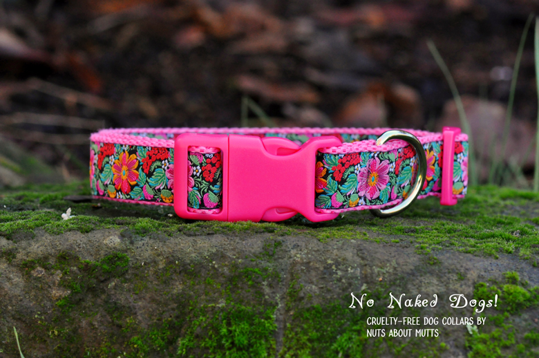 Enchanted Flower Garden  Pink dog collar Med, Large, X-Large