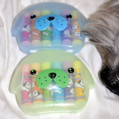 Dog-shaped container with erasers