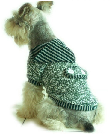 Grey striped dog hoodie
