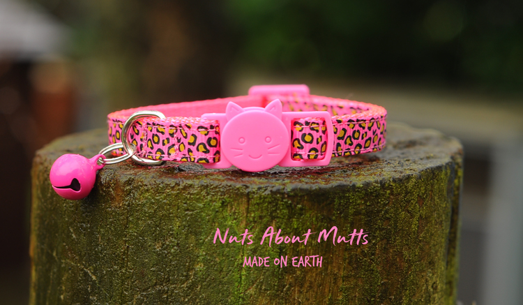 Hot Pink Leopard cat collar 3 sizes