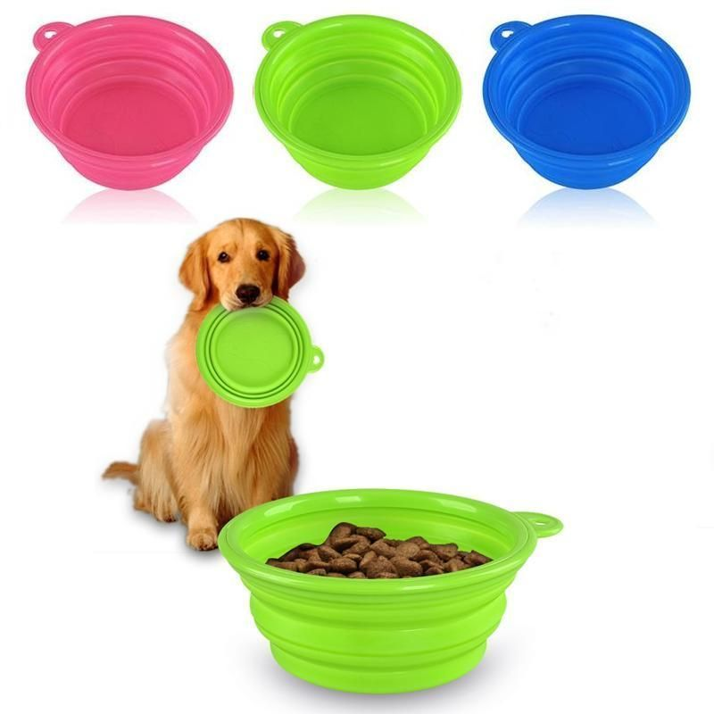 Collapsible sillicon pet travel bowls Lime Green FREE SHIPPING!