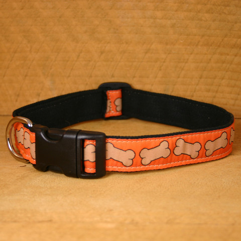 "Hemp/organic cotton collar & lead set ""Bones"" (Small)"