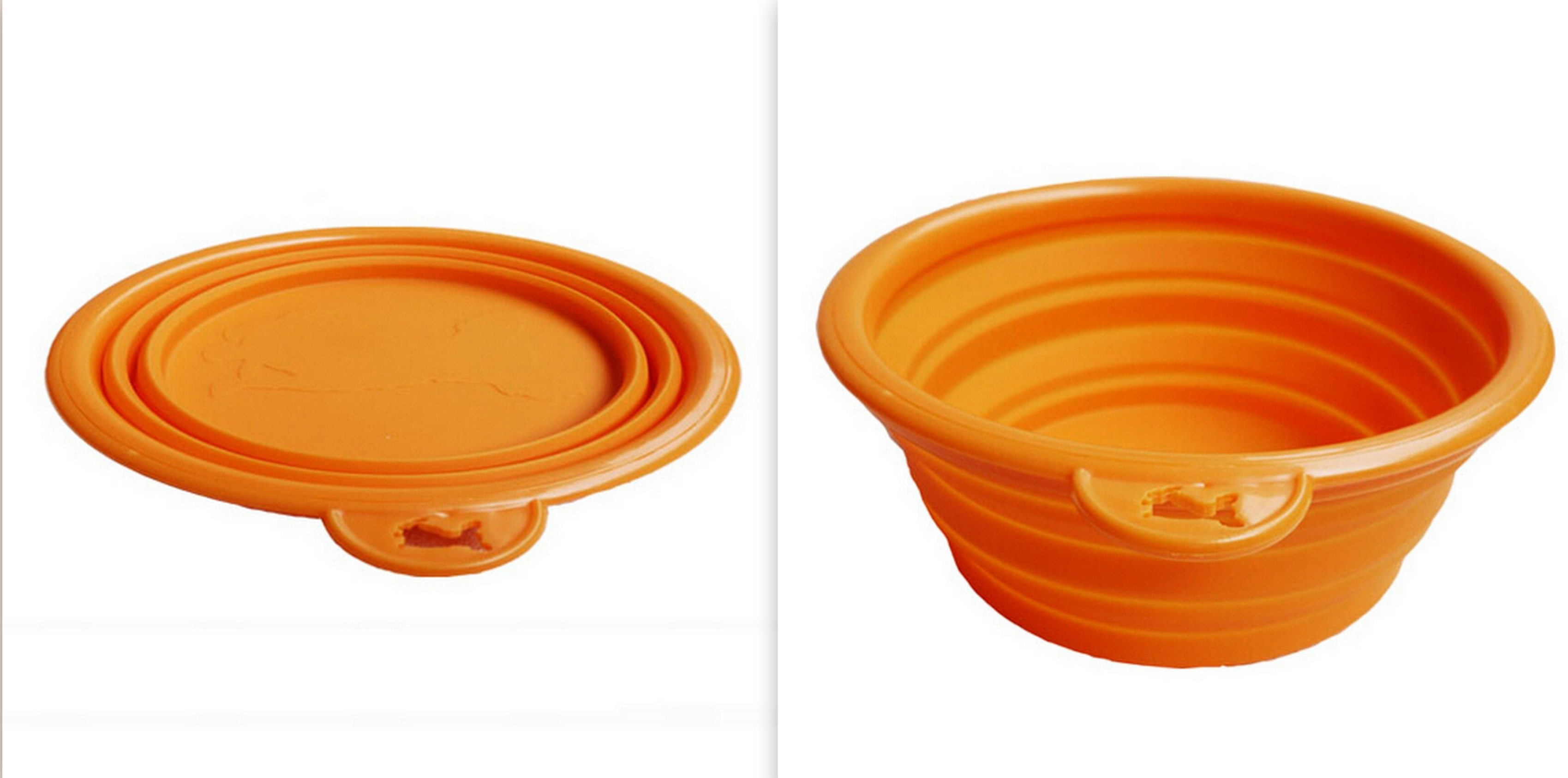 Collapsible sillicon pet travel bowls Orange FREE SHIPPING!