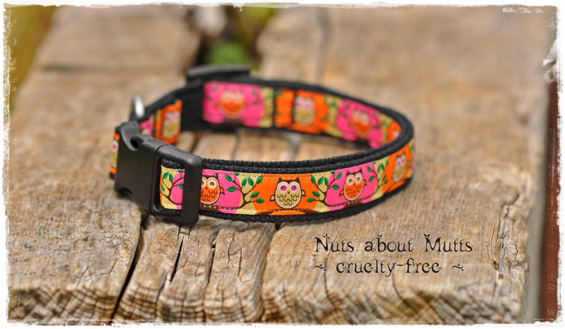 Pink & Orange Owls ribbon dog collars Small to med sized dogs