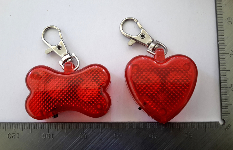 Bone-or heart shaped pet safety light