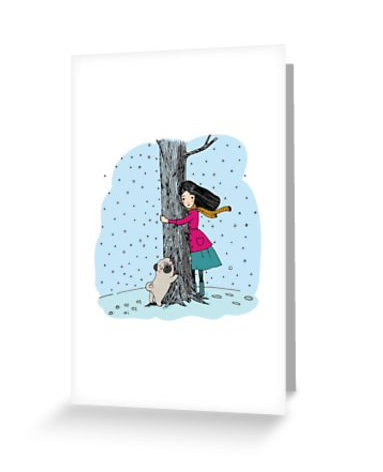 Pug Love  Treehugger X-Large greeting card