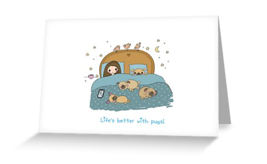 Life's better with pugs! X-Large greeting card