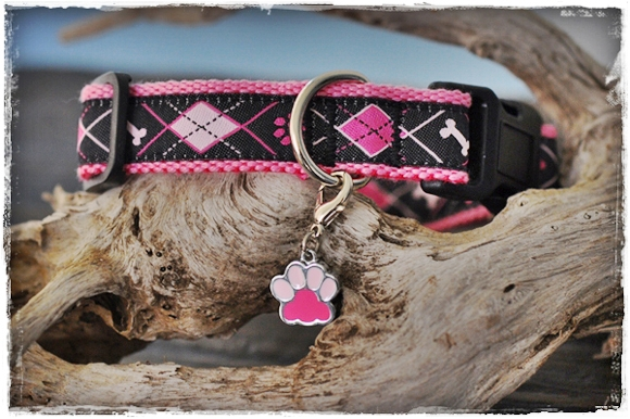 Argyle dog collar for small to medium-sized dogs
