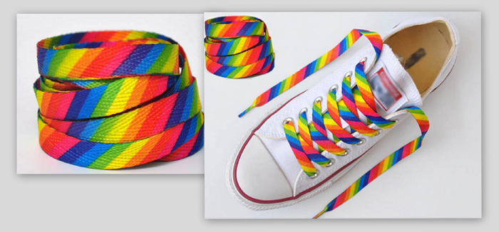 Rainbow Pride shoe laces (one pair)