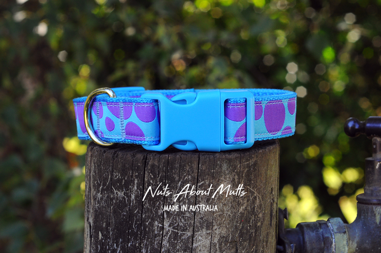 Sulley dog collar  purple polka med, large, x-large