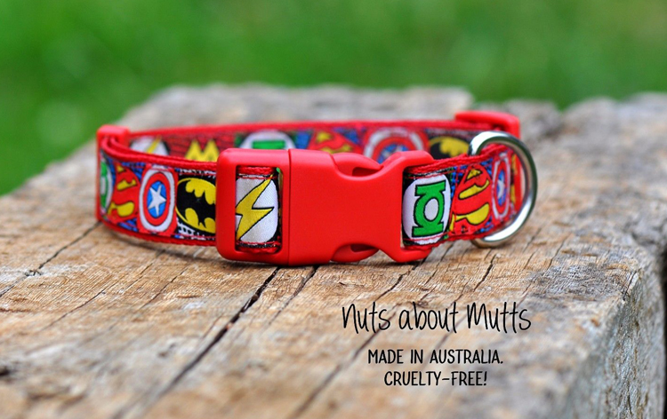 Super Heroes dog collar RED All sizes