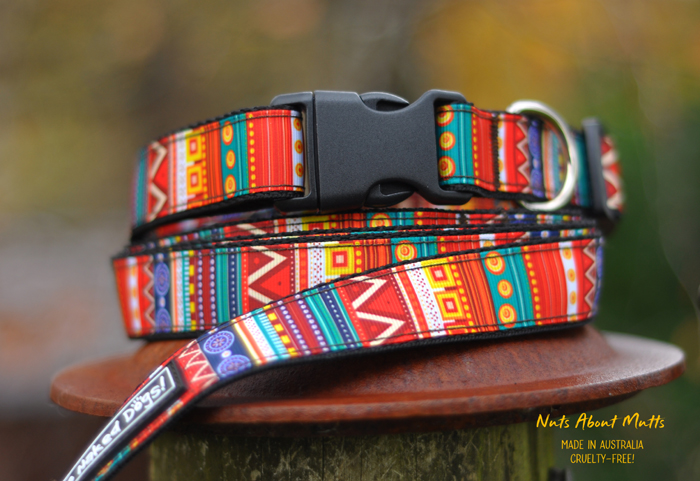 Tribal Ethnic ribbon dog collar Med, Large, XLarge 25mm