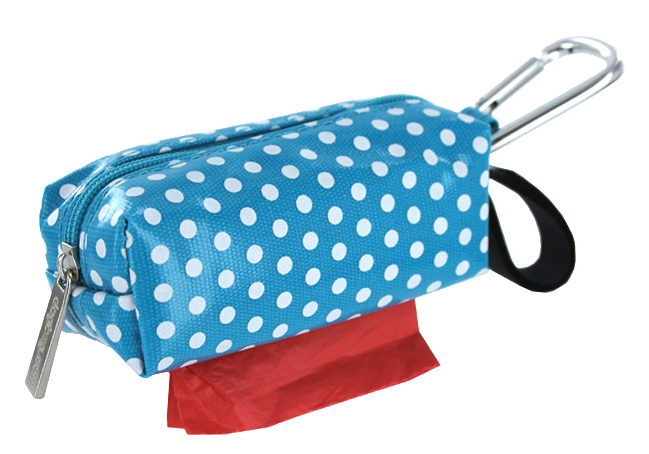 "Dog waste bags, dog poo bags + dispenser ""turquoise dottie"""